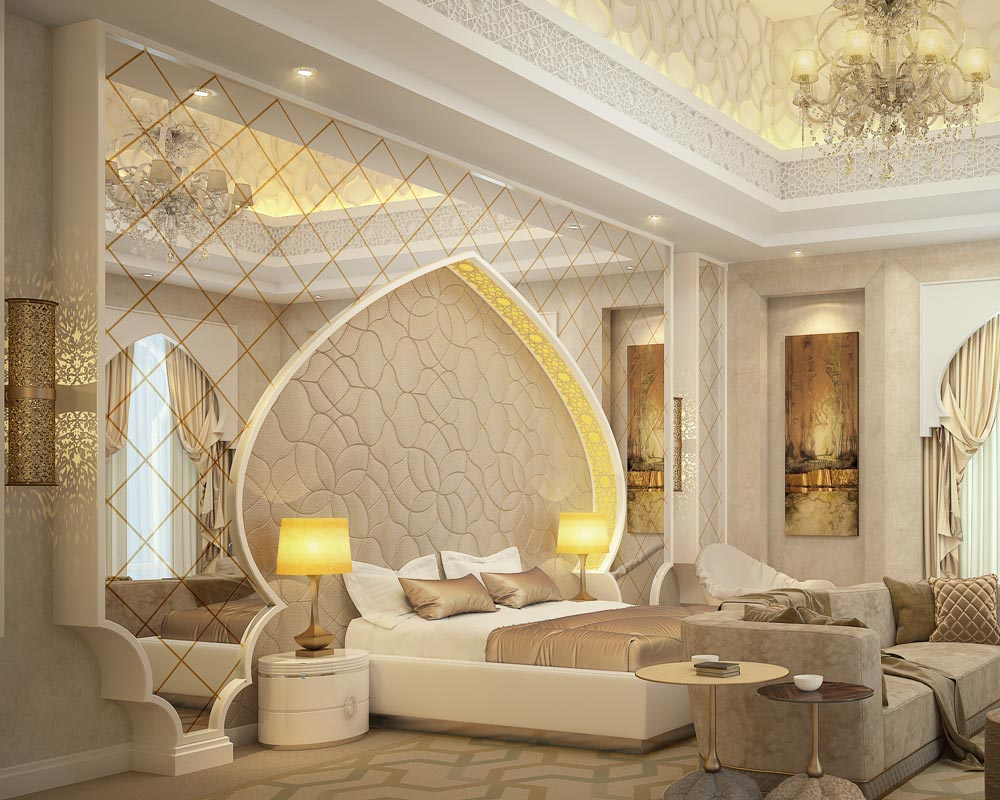 Arabic style bedroom with a kingsize bed with headbord 1017