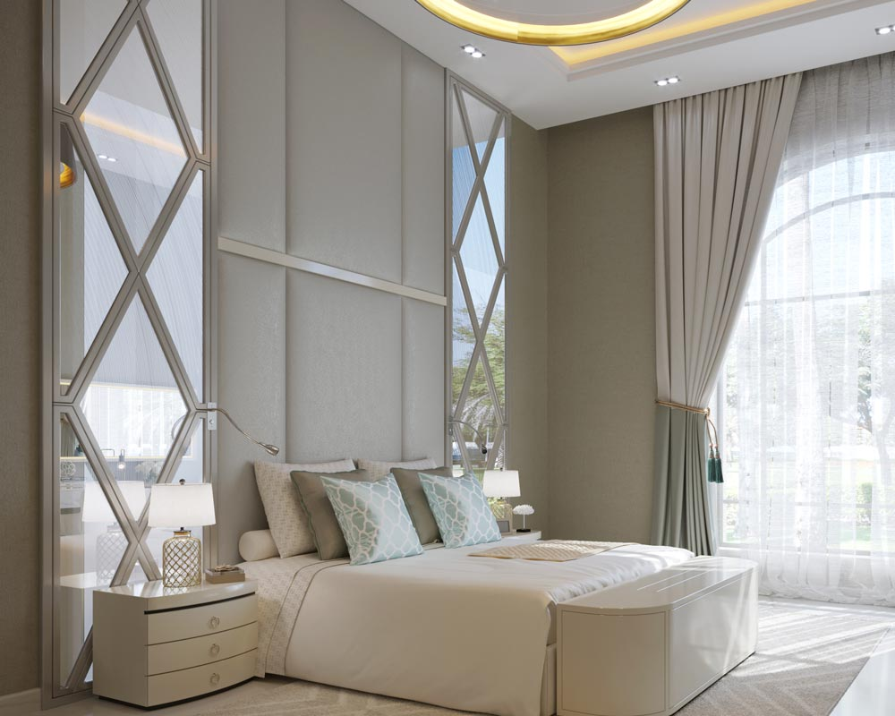 Modern bedroom interior design in light beige color scheme