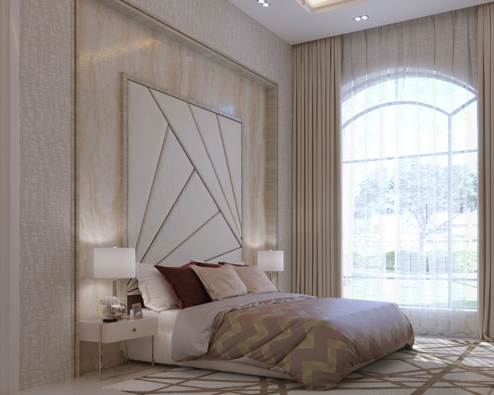 Modern luxury bedroom interior design with king size bed with a luxury headboard